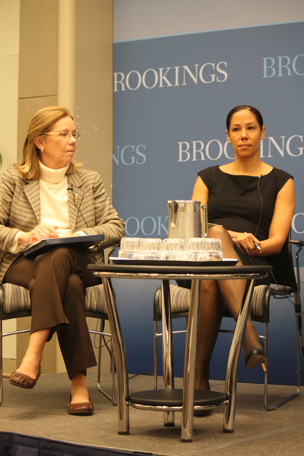 Two panelists at the Brookings Institution Discussion, A Poverty and Opportunity Agenda: What's in Store for the Next Four Years? Left to Right, JoAnne Barnhart and Mona Sutphen. Dec. 5 2012 in Washington D.C.